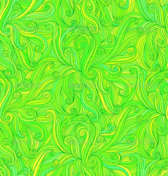 Vector Abstract Doodle Curves Seamless Pattern - Flowers & Plants Nature