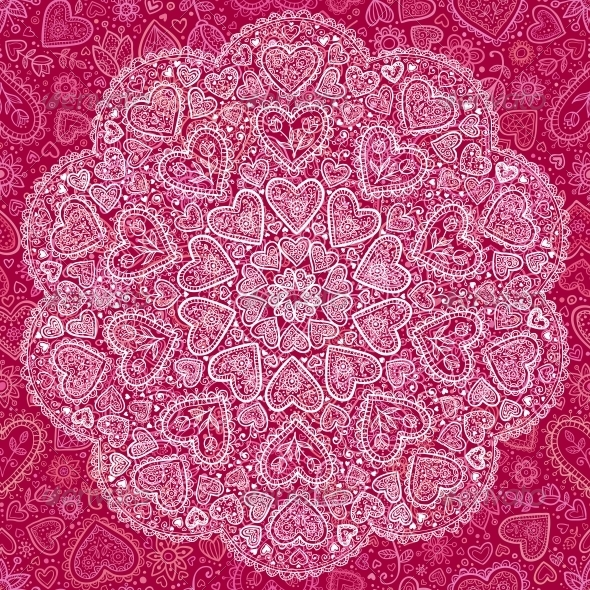 Ornamental Round Hearts Pattern in Indian Style - Decorative Symbols Decorative