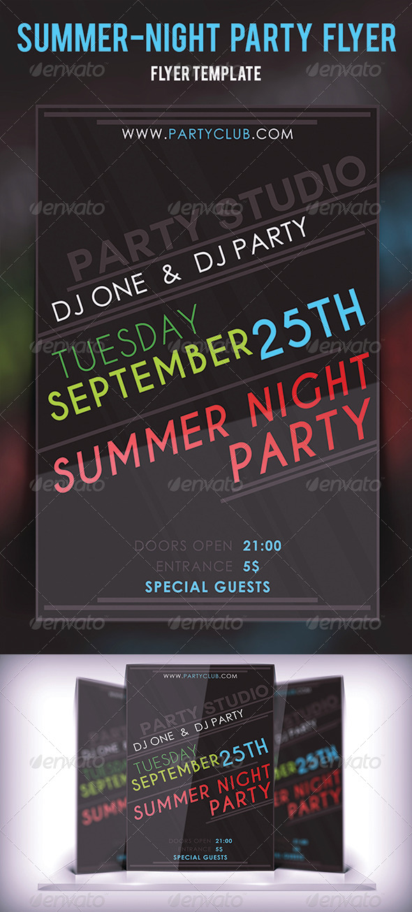 Summer Night Party Flyer - Flyers Print Templates