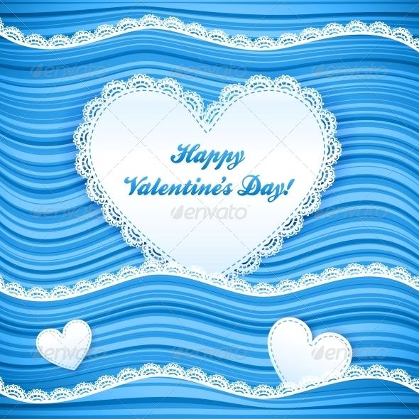 Vector Blue Wavy Valentine's Day Background - Valentines Seasons/Holidays