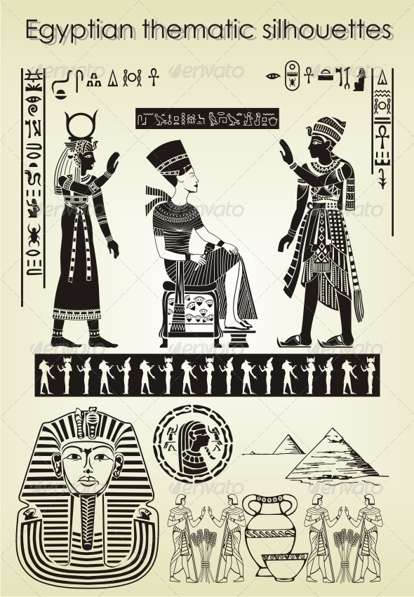 Egyptian thematic silhouettes - People Characters