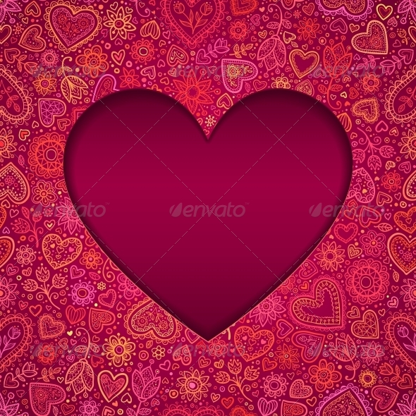 Cut Out Paper Heart Valentines Day Card - Valentines Seasons/Holidays