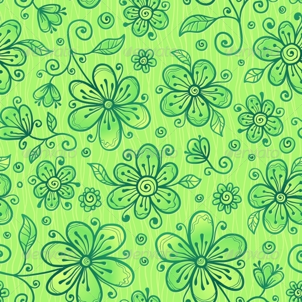 Green Doodle Flowers Vector Seamless Pattern - Flowers & Plants Nature