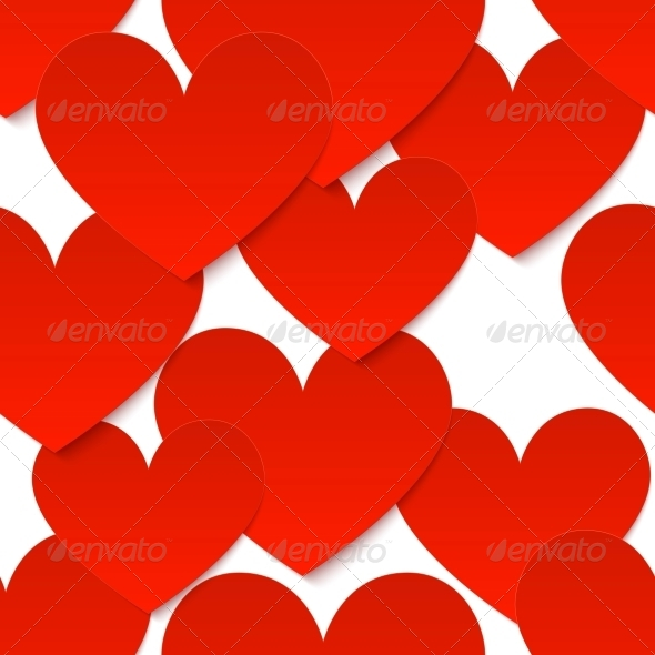 Red Vector Paper Hearts at White Background - Valentines Seasons/Holidays