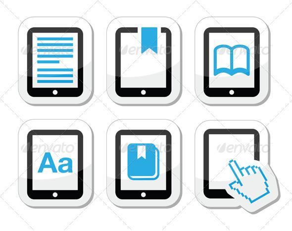E-book Reader, E-Reader Vector Icons Set  - Computers Technology
