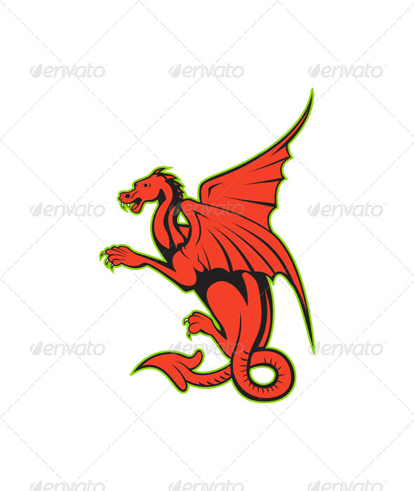 Red Dragon Cartoon - Animals Characters