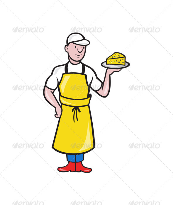 Cheesemaker Holding Plate of Cheese - People Characters