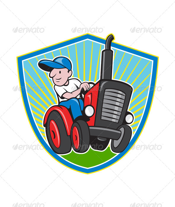 Farmer Driving Vintage Tractor Cartoon - People Characters