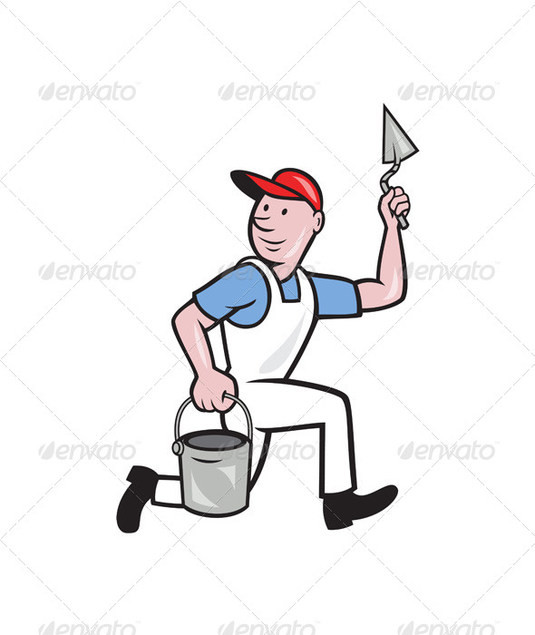 Plaster Masonry Worker Cartoon - People Characters