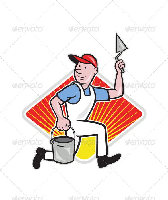 Plaster Masonry Worker Cartoon - People Characters