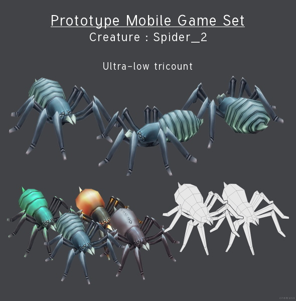 Prototype Mobile Game Set - Creature : Spider_2 - 3DOcean Item for Sale