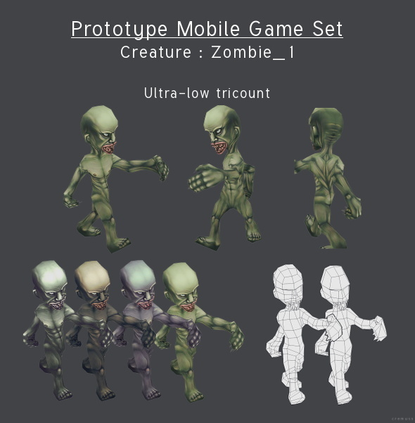 Prototype Mobile Game Set - Creature : Zombie_1 - 3DOcean Item for Sale