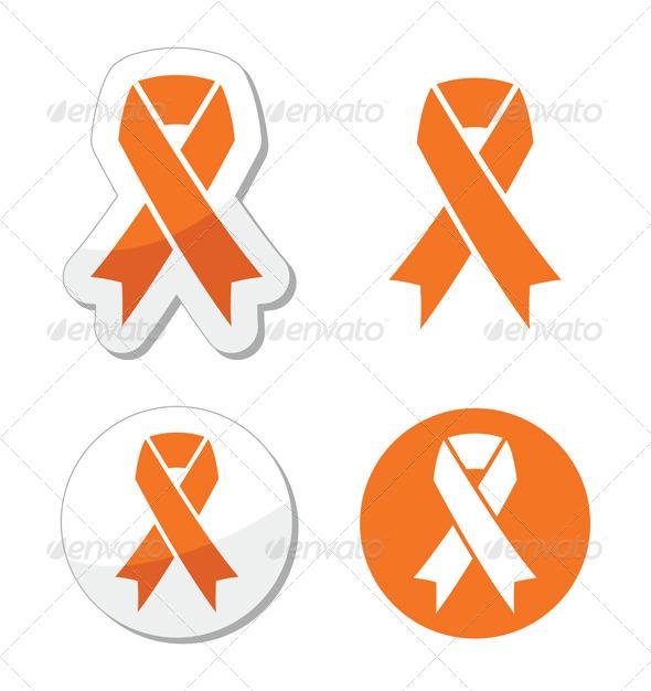 Orange Ribbon - Leukemia, Hunger, Humane Treatment - Health/Medicine Conceptual
