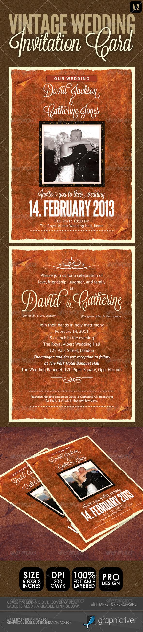 Vintage Wedding Invitation Card V.2  - Weddings Cards & Invites