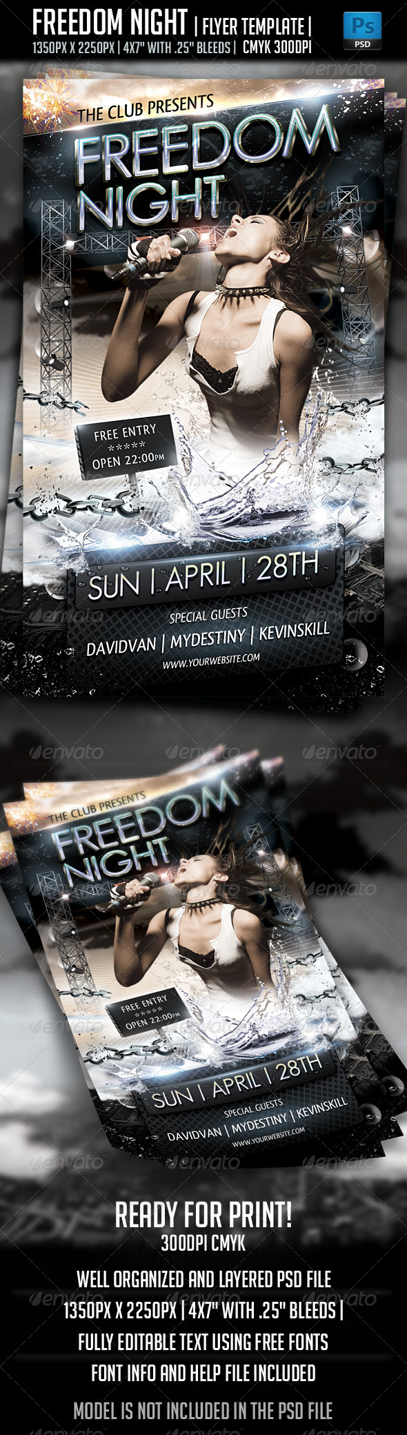 Freedom Night Flyer Template - Clubs & Parties Events