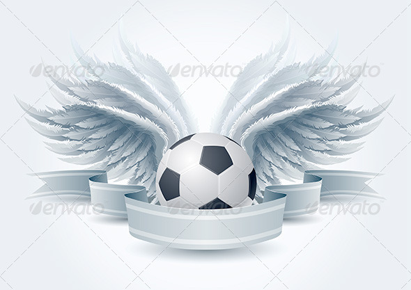 Soccer Ball Wing Banner - Objects Vectors