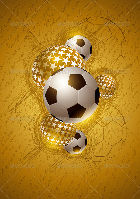 Soccer Ball Gold Abstract Design - Sports/Activity Conceptual