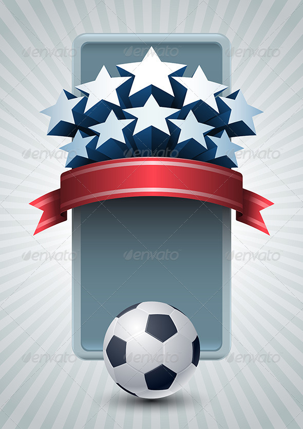Soccer Ball and Stars Banner - Sports/Activity Conceptual