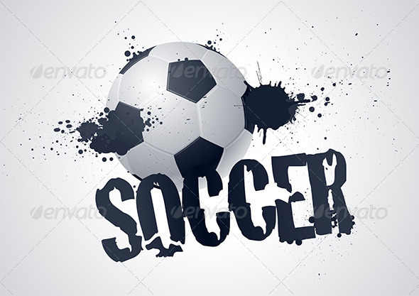 Vector Soccer Ball Typographic Design - Sports/Activity Conceptual