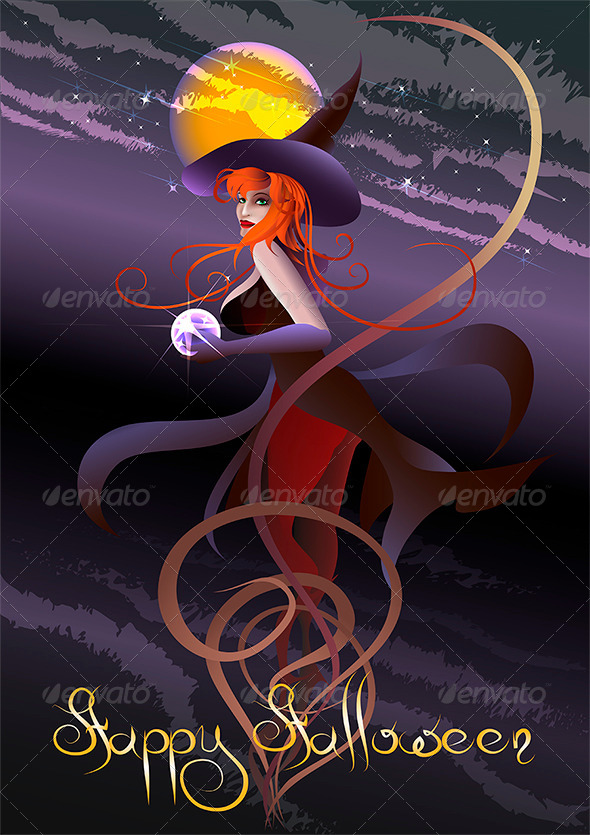 The Witch with a Crystal Ball - Halloween Seasons/Holidays