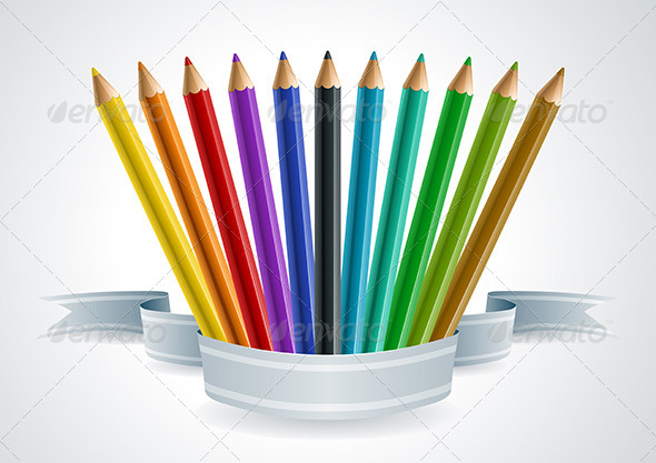 Color Pencil Set Banner. - Man-made Objects Objects