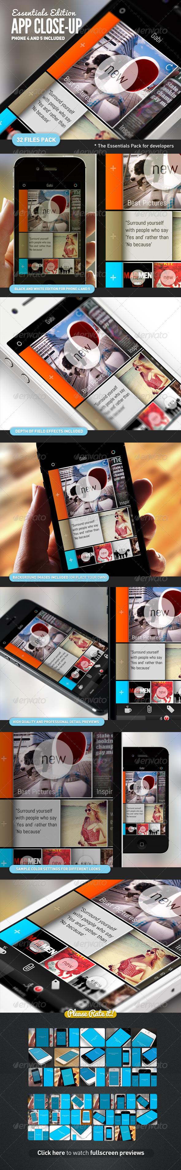 App UI Close-Up Mock-Up Essential Bundle - Mobile Displays