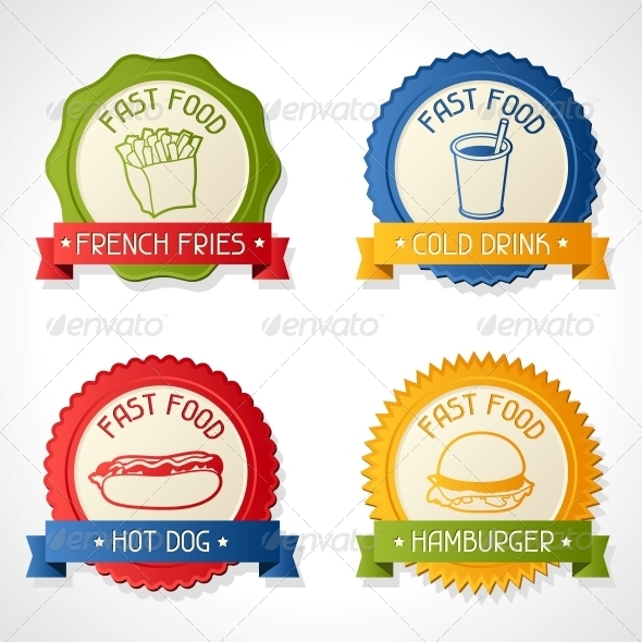 Set of Badges. - Food Objects