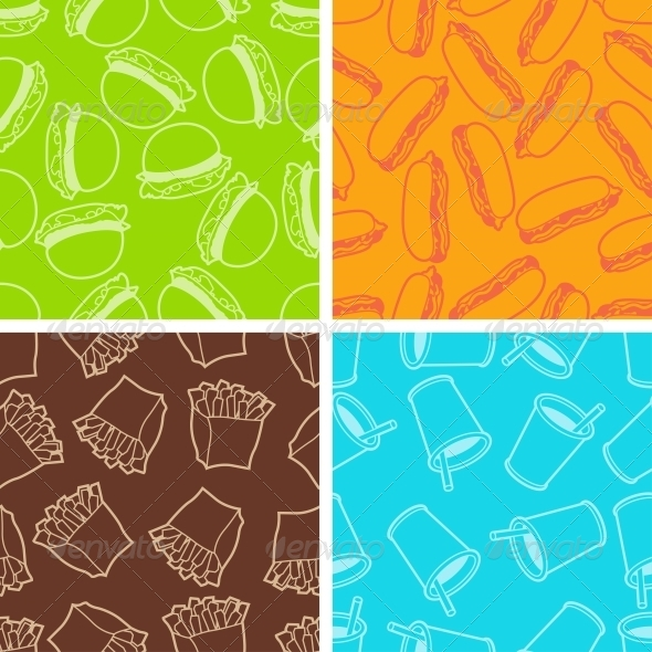 Fast Food Seamless Patterns in Retro Style. - Patterns Decorative