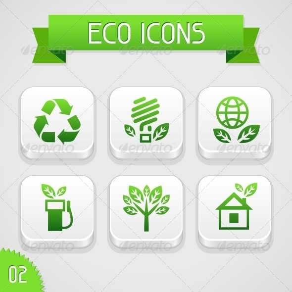 Collection of Apps Icons with Eco Elements. Set 2. - Web Elements Vectors