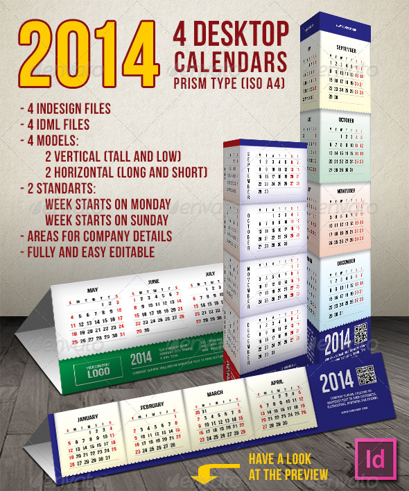2014 - 4 Prism Type Desktop Calendars (A4)  - Calendars Stationery