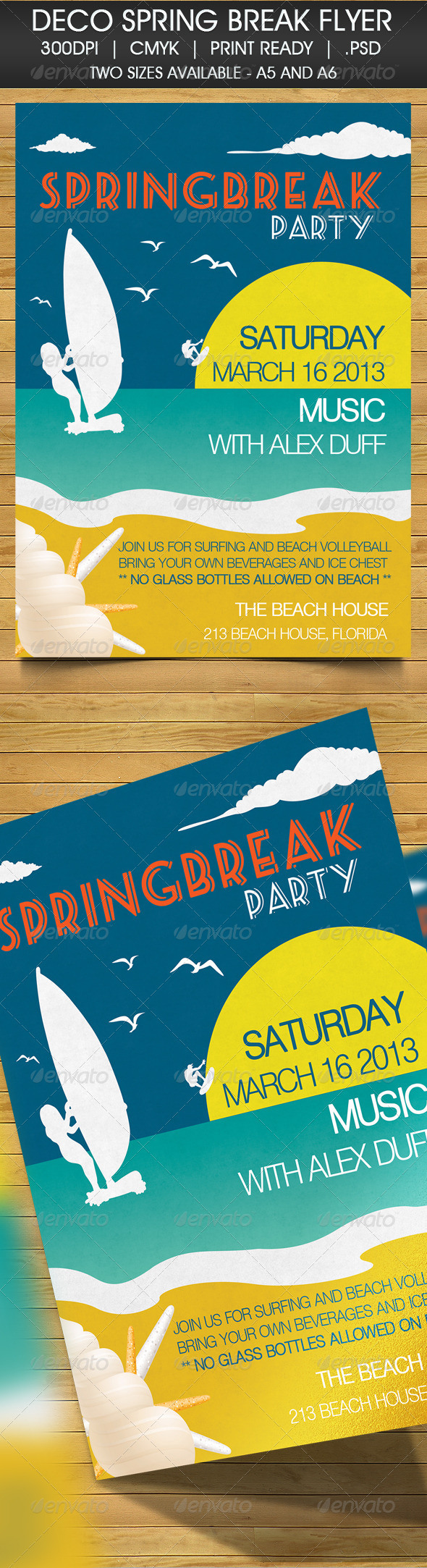 Deco Spring Break Beach Party Invitation - Cards & Invites Print Templates