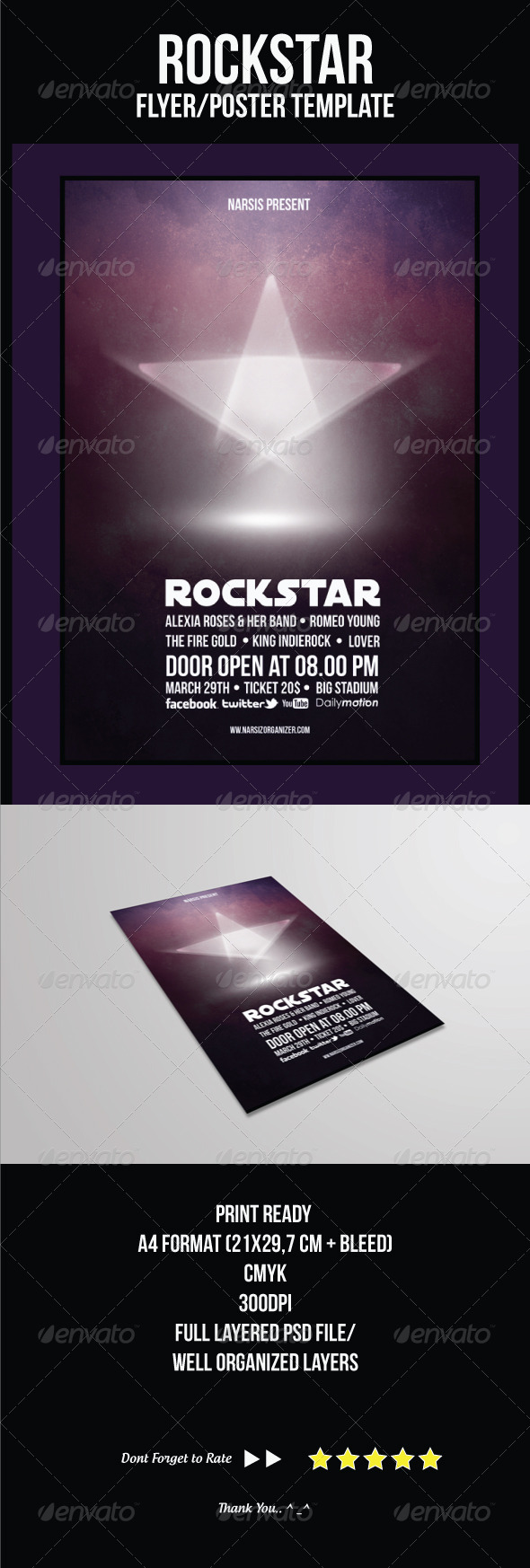 Rock Star Flyer Template - Concerts Events