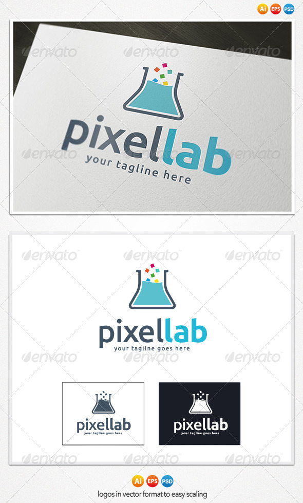 Pixel Lab Logo - Objects Logo Templates