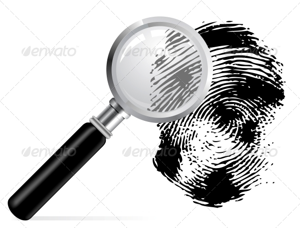 Magnifier with Scaned Fingerprint - Man-made Objects Objects