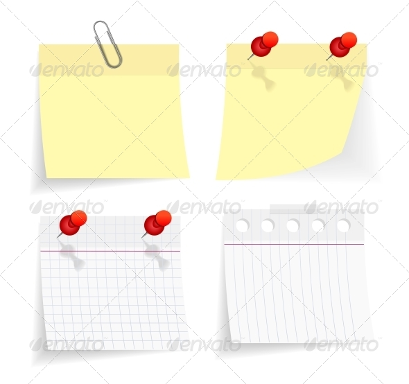 Vector Sticky Paper Set - Man-made Objects Objects