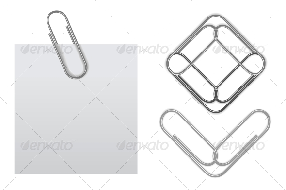 Vector Sticky Note with Paper Clip - Man-made Objects Objects
