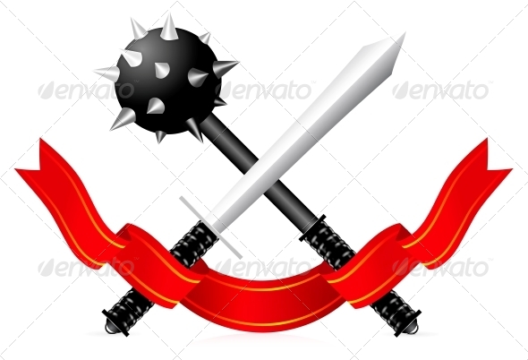 Sword and Mace Illustration - Man-made Objects Objects