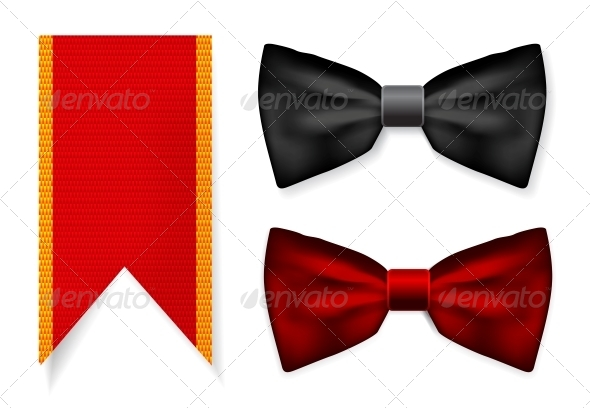 Bow Tie and Red Ribbon - Man-made Objects Objects