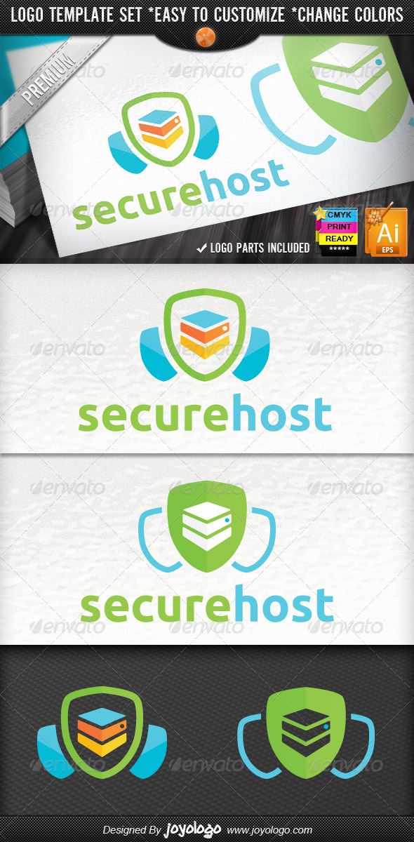 Web Security Server Shield Secure Host Logo - Objects Logo Templates