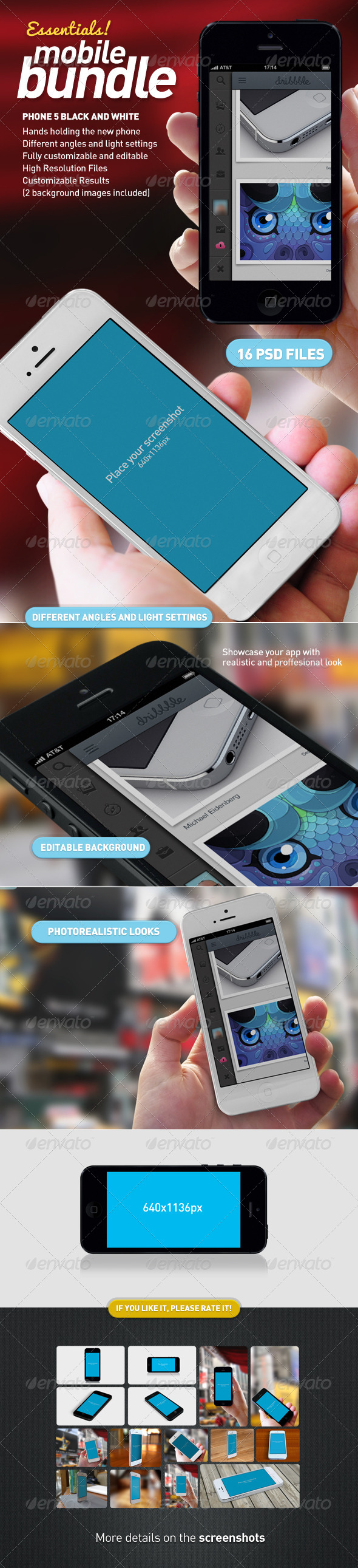Mobile App Mock-Up Essentials Bundle - Mobile Displays