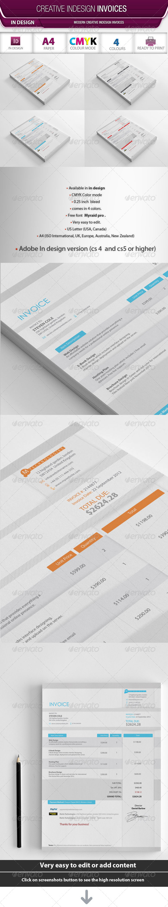 Creative Indesign Invoices - Proposals & Invoices Stationery