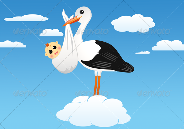 Stork with Baby  - Animals Characters