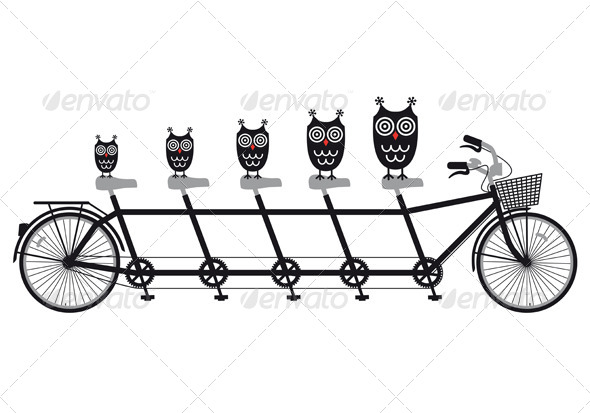 Owls On Tandem Bicycle, Vector - Animals Characters