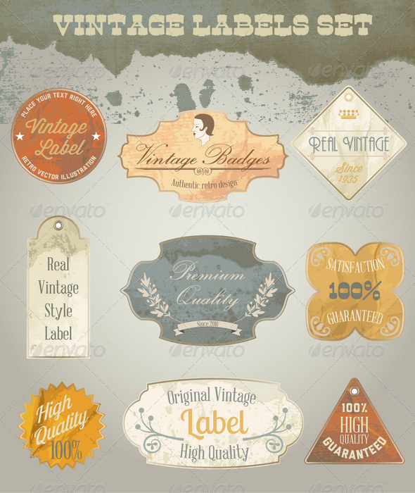 Vintage Labels Set - Decorative Vectors