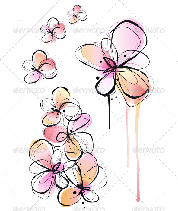 Abstract Watercolor Flowers, Vector - Flowers & Plants Nature