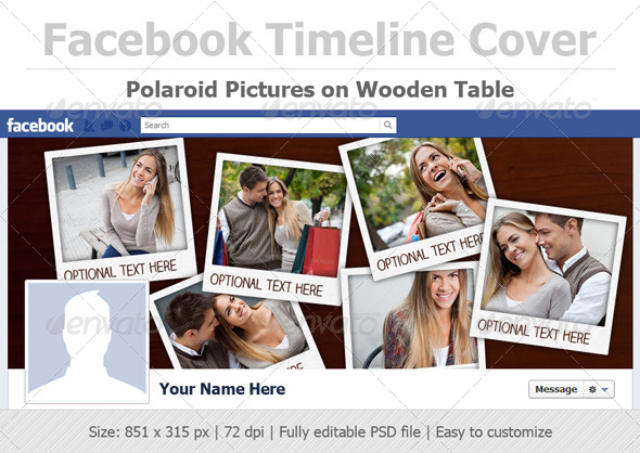 Polaroid Pictures on Wooden Table - Facebook Timeline Covers Social Media