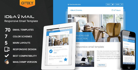 idea mail minimal responsive email template by gifky themeforest. Black Bedroom Furniture Sets. Home Design Ideas