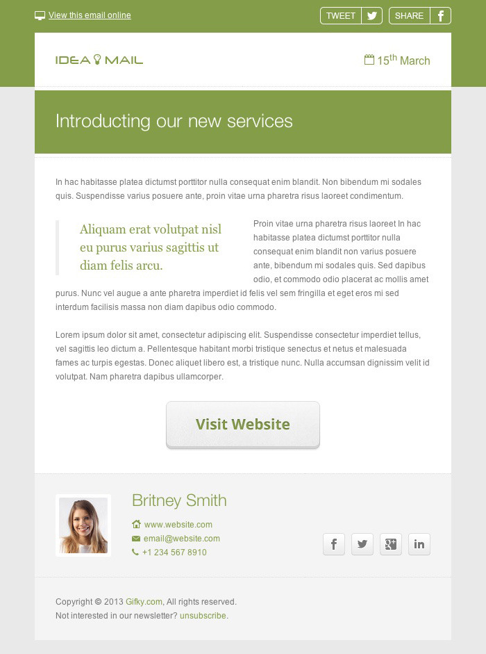Idea Mail Minimal Responsive Email Template By Gifky ThemeForest - Minimal email template