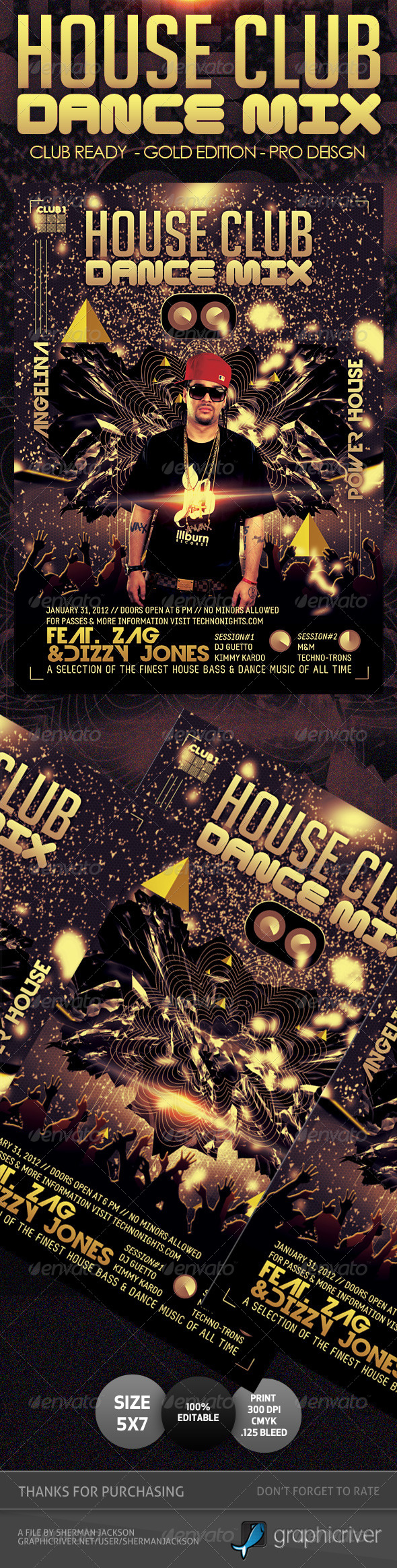 House Club Trance & Dance Mix Flyer - Gold Edition - Clubs & Parties Events