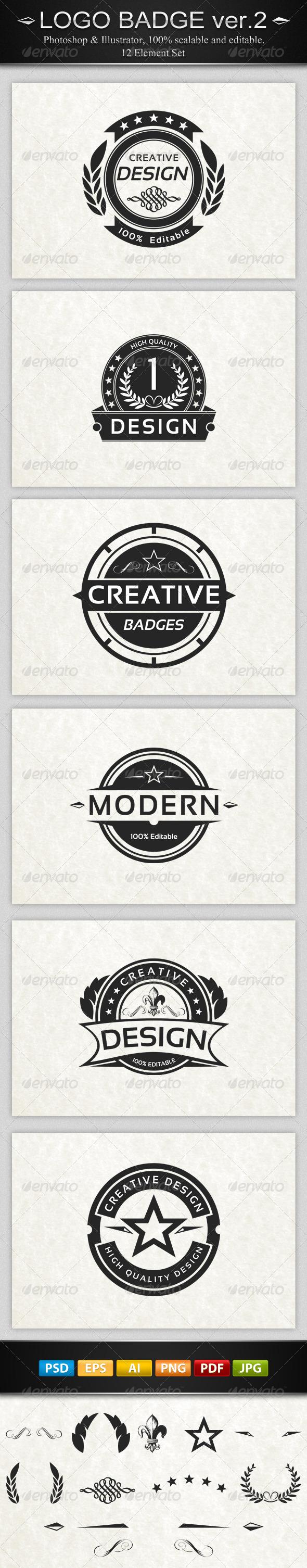 6 Vintage Logo Badges ver.2 - Badges & Stickers Web Elements